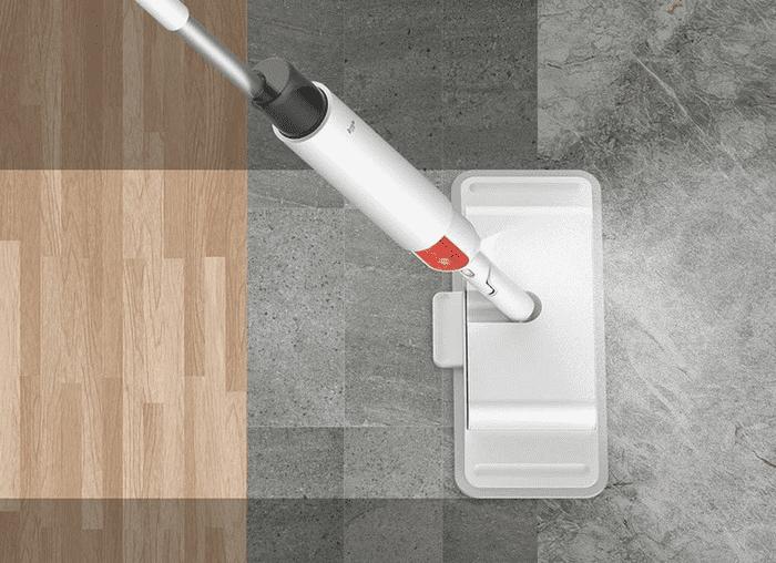 Пример использования беспроводной швабры Функция распыления влаги на швабре Xiaomi Deerma DEM-TB900